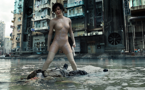 """In this image released by Paramount Pictures, Scarlett Johansson appears in a scene from, """"Ghost in the Shell."""" (Paramount Pictures and DreamWorks Pictures via AP)"""