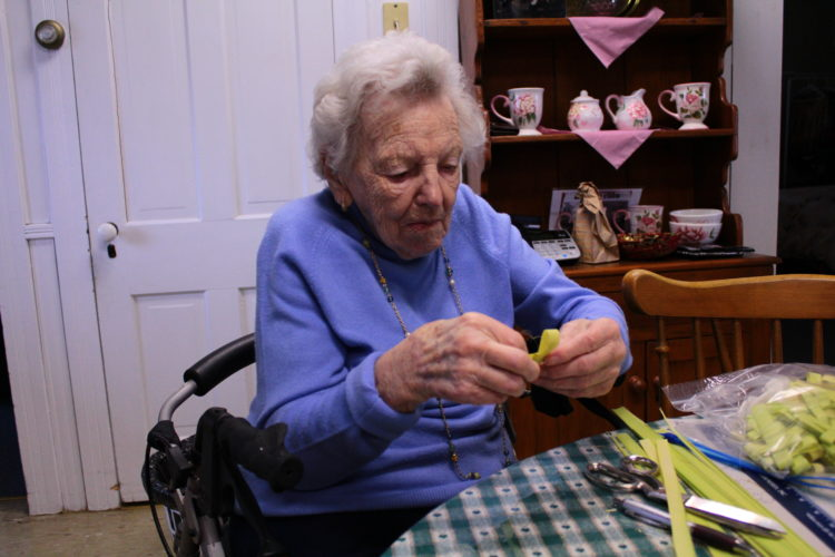 MEGAN E. BLOOM/Sun-Gazette Correspondent Soon-to-be 101-year-old Florence Rider, of Hughesville, continues making the most of her time each day and spent time leading up to Palm Sunday working on palm crosses that were distributed to four area churches and two assisted living facilities. In her spare time, Rider enjoys crocheting doilies and afghans, which she can complete in a day or two. She likes cooking, making her own candy and potting plants.