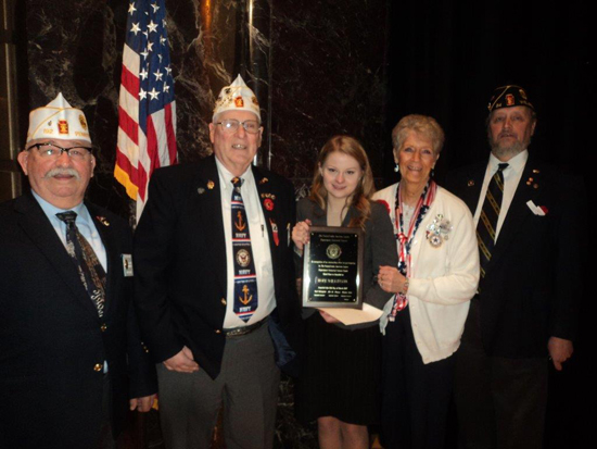 PHOTO PROVIDED Shown from left, are Carl Olshefskie, commander of the American Legion Department of Pennsylvania; Wayne Walker, assistant sergeant at arms; Hope Wilkinson, American Legion Oratorical winner from 16th District; Carol Wert Walker, district president (Centre, Lycoming and Clinton Counties) Department of Pennsylvania American Legion Auxiliary; and Clare Emery, adjutant of W. Earle Champaign American Legion Post No. 84, of Wellsboro, and oratorical chairman for the 16th District of the Department of Pennsylvania American Legion.