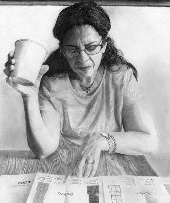 """PHOTO PROVIDED Shown is """"Lina,"""" a graphite pencile portrait by artist Samia Campbell, a senior in high school. Campbell's artwork will be on display, with a reception 6-9 p.m. Friday at the Harvest Emporium and Gallery, 46 1/2 W. Fourth St."""