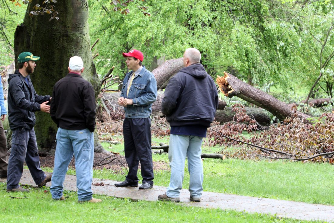 KAREN VIBERT-KENNEDY/Sun-Gazette Adam Winder, Chad Eckert, Mayor Gabriel J. Campana and Dave Myers, from left, take a tour of Brandon Park in Williamsport to discuss the downed trees on Friday afternoon.  Winder, Myers and Eckert are with the city's Streets and Parks Department.