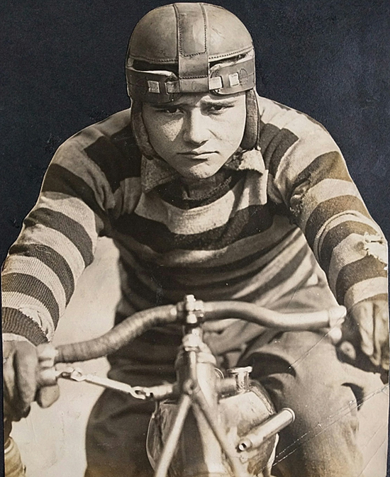 PHOTO PROVIDED  Cleo Pineau at the Riverview Motordrome in Chicago in 1912.