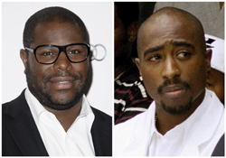 In this combination photo, filmmaker Steve McQueen, left, appears at The London Critics Circle Awards, in London, on Feb. 2, 2014 and rapper Tupac Shakur attends a voter registration event in South Central Los Angeles on Aug. 15, 1996. McQueen is set to direct a documentary about Shakur. Shakur Estate trustee Tom Whalley and Amaru Entertainment said Tuesday, May 9, 2017, that the film is fully sanctioned by the late hip-hop artistÕs estate. (Photo by Jonathan Short/Invision/AP, left, and Frank Wiese/AP, File)