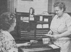 PHOTO PROVIDED In the above newspaper clipping, Sarah Elizabeth Fulton Heiney, right, is shown at a switchboard.