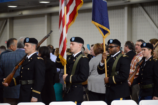 KATELYN HIBBARD/Sun-Gazette Lycoming College's 169th commencement ceremony opens with a presentation of the colors at the Keiper Recreation Center on Saturday afternoon.