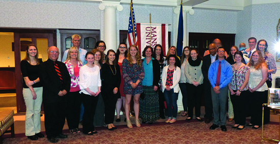 PHOTO PROVIDED Mansfield University seniors stand with their faculty mentors that they nominated for an Outstanding Senior Mentor award.