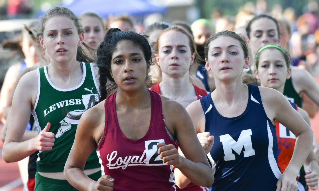 MARK NANCE/Sun-Gazette Isabel Sagar of Loyalsock leads the pack en route to taking the Class AA girls 3,200 Thursday at Williamsport.