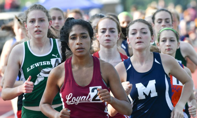 MARK NANCE/Sun-Gazette Isabel Sagar of Loyalsock leads the pack en route to taking the Class AAgirls 3,200 Thursday at Williamsport.