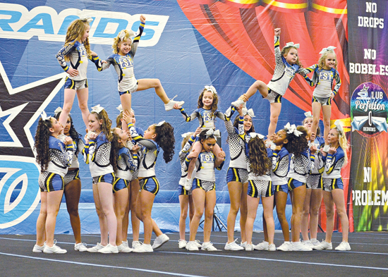 PHOTO PROVIDED The Youth Quarantine Level 1 all start team from Epidemic Stunt and Tumble are shown during a recent competition in Long Island, N.Y.