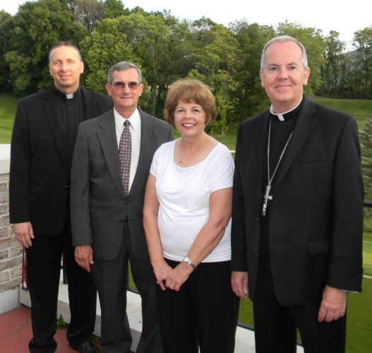 PHOTO SUBMITTED The Diocese of Scranton Annual Appeal has surpassed its $5 million goal, raising $5,075,000 in gifts and pledges. Lycoming-Tioga Clergy and Lay Regional chairs with Bishop Joseph C. Bambera, right, are from left, the Rev. John Victoria, of St. Ann Parish in Loyalsock Township; and John and Joan Eck, of St. Joseph the Worker Parish in Williamsport.