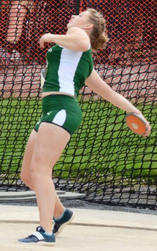 BRIAN FEES/For The Sun-Gazette Kate Allred of Lewisburg throws the discus in the girls Class AAdiscus Friday at the PIAAtrack and field championships in Shippensburg.