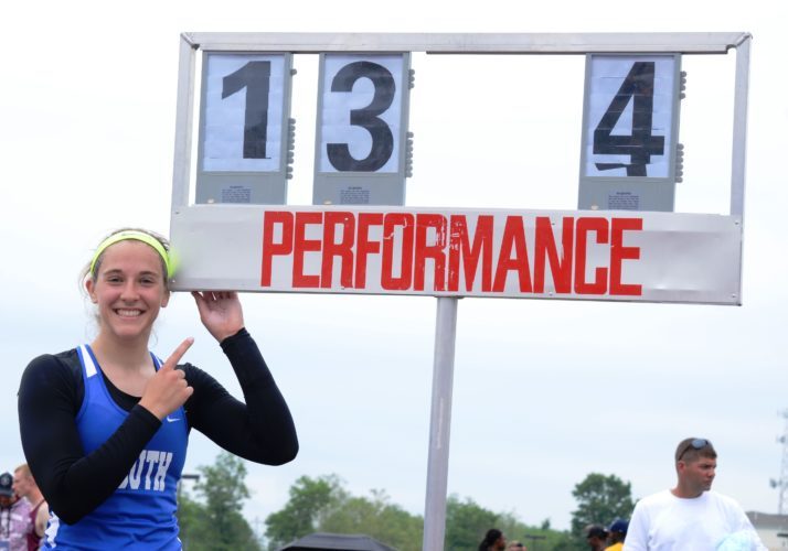 BRIAN FEES/For The Sun-Gazette Penn State-bound Katie Jones repeated her PIAApole vault title in her last high school competition for South Williamsport.