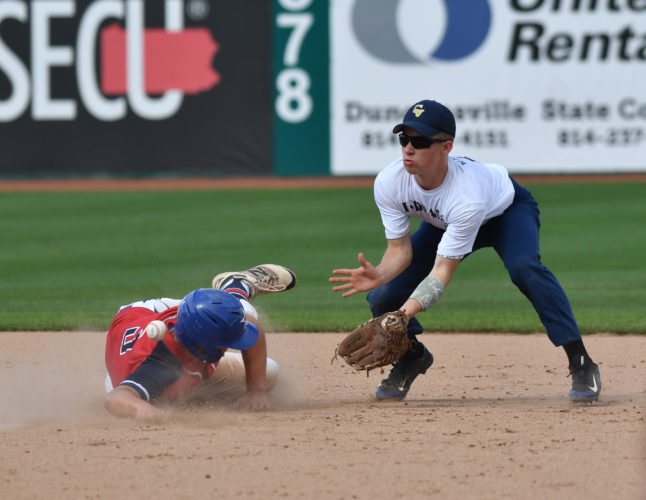 A Sayre runner safely steals second base as Cowanesque Valley second baseman Corey Wells tries to field the throw for the out at Penn State's Medlar Field on Wednesday.  (MARK NANCE/Sun-Gazette)