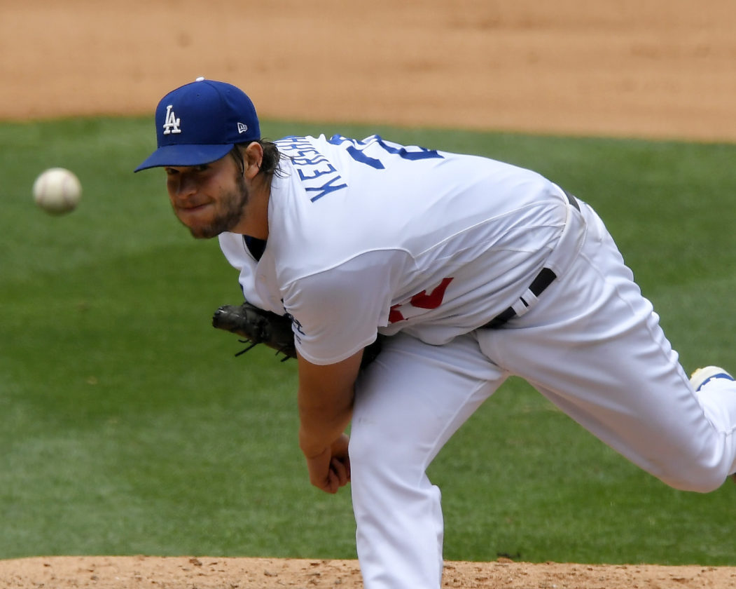 Los Angeles Dodgers starting pitcher Clayton Kershaw throws to the plate during the fourth inning against the Washington Nationals on Wednesday in Los Angeles. (AP)