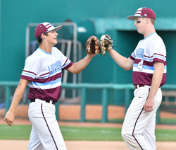 MARKNANCE/Sun-Gazette Loyalsock's Connor Watkins, left, and Andrew Malone, tap gloves during the District 4 Class AAA championship game in State College last month.
