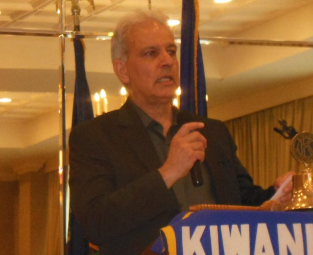 MARK MARONEY/Sun-Gazette Dr. Mehrdad Madresehee, professor of economics at Lycoming College, spoke to Kiwanis Club of Williamsport on local economic trends Thursday at the Genetti Hotel.