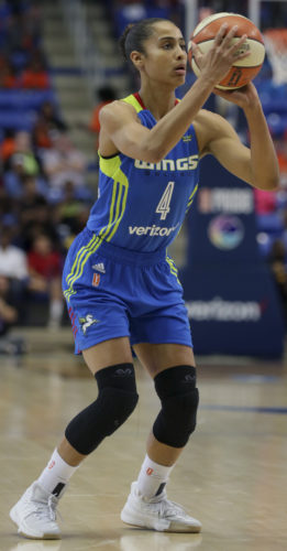 Dallas Wings guard Skylar Diggins-Smith shoots during the second half in Arlington, Texas, on Wednesday during a game against the San Antonio Stars. The Wings beat the winless stars. (AP)