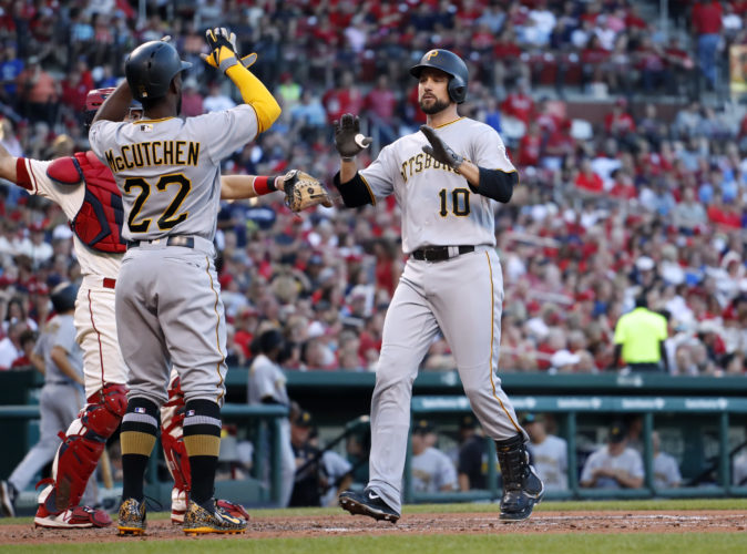 Pittsburgh Pirates' Jordy Mercer, right, is congratulated by teammate Andrew McCutchen (22) after hitting a two-run home run during the fourth inning on Saturday against the St. Louis Cardinals. (AP)