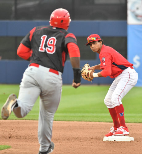 Williamsport Crosscutters shortstop Raul Rivas prepares to throw to first base for a second out after a force out of Batavia's Lazaro Alonso at second base in the fourth inning at Bowman Field on Wednesday. (MARK NANCE/Sun-Gazette)