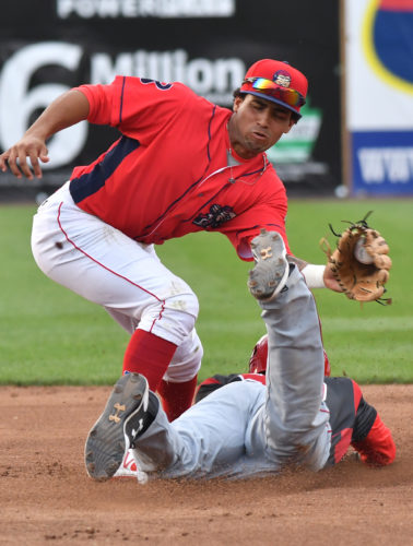 Williamsport second baseman Raul Rivas is late with the tag as a Batavia player safely steals second base in the first inning at Bowman Field on Thursday evening. (MARK NANCE/Sun-Gazette)