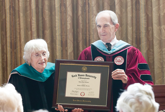 PHOTO PROVIDED Lock Haven University recently awarded Dr. Betty Baird Schantz, left, with an honorary doctorate of public service.