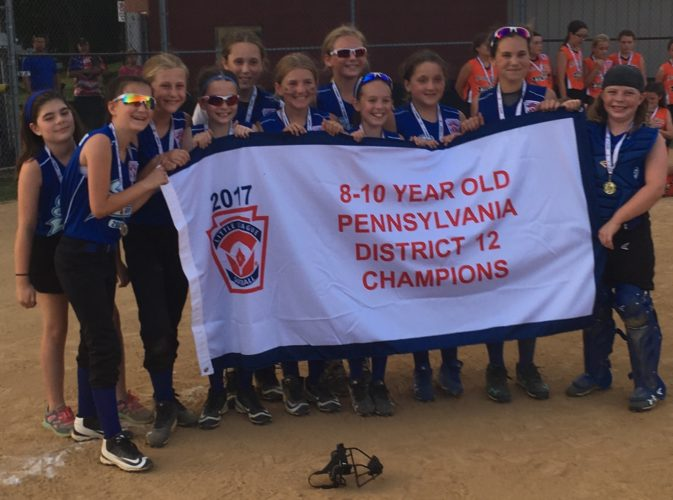 SUBMITTED PHOTO The South Williamsport-White team that won the District 12 8-10 Softball title Monday. Front row:Chelsea Harrison, Lacey Kriebel, Lili Cox, Emily Holtzapple, Gianna Goodman, Kendal Cardone, Sage Lorson, Lily Reidy. Back Row:Bailey Livermore, Alizabeth Schuler, Abby Lorson