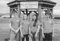 PHOTO PROVIDED The new junior fair board includes, from left, Jacob Reynolds, Calli Moore, Lilly Kepner and Ethan Poust, all of Hughesville. Not pictured is David Hopfer, who joined the board after the photo was taken.