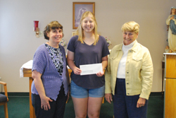 """MUNCY — Lauren Bleistein, of Milton, recently was recognized as the recipient of a $500 VolunTEEN Scholarship presented by UPMC Susquehanna.  The scholarship is intended to benefit a high school senior planning to further their education in the medical or allied health field. It is awarded annually by volunteer services to an active VolunTEEN who has demonstrated a commitment to quality health care, exemplary volunteer service and an academic record that suggests potential for success in the medical field.  Bleistein has been a VolunTEEN with UPMC Susquehanna's Skilled Nursing & Rehabilitation Center since 2014, accruing more than 125 volunteer hours. As a volunteer, she has assisted with activities and worked alongside residents and staff. """"I have had the pleasure of getting to know many of the residents,"""" Bleistein said. """"It is through the relationships that I built with residents that I found an interest in the challenges they face, particularly Alzheimer's and dementia."""" Bleistein will pursue a degree in pre-medicine at University of Pittsburgh in the fall and plans to become a doctor, specializing in Alzheimer's and dementia research and treatment."""