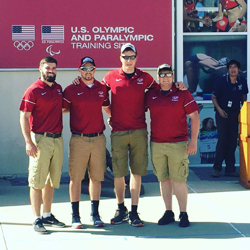 PHOTO PROVIDED Four Lock Haven students recently competed at USA Archery's Outdoor Nationals. Shown from left, are Brandon Perelli, Ryan Eckel, Bryce Bason and Austin Phillips.