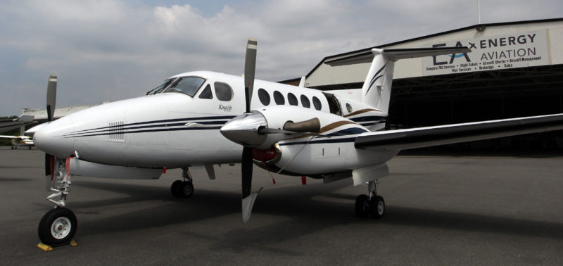 KAREN VIBERT-KENNEDY/Sun-Gazette IPT135 Aircraft Charter Service, a subsidiary of Energy Aviation, offers charter flights out of Williamsport Regional Airport. Above, the service's Beechcraft King Air 200 Turboprop plane.