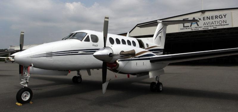 KAREN VIBERT-KENNEDY/Sun-Gazette IPT135 Aircraft Charter Service, a subsidiary of Energy Aviation, offers charter flights out of Williamsport Regional Airport. Above, the service's Beechcraft King Air 200 Turboprop plane.