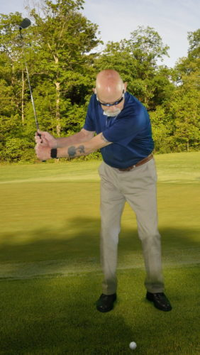 The left arm should be parallel to the ground on the backswing. (PHOTO PROVIDED)