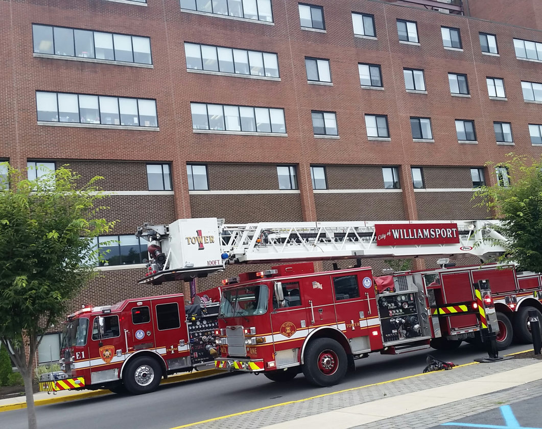 PHILIP A. HOLMES/Sun-Gazette City firefighters rushed to the UPMC Susquehanna Williamsport Regional Medical Center when a fire broke out in a female patient's room on the sixth floor in the east wing of the complex on Tuesday afternoon.