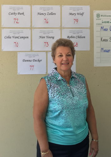Robin Chilson captured the Williamsport Country Club Ladies Senior Championship with a net score of 68.  Celia Van Campen was runner-up with a net 70.  (PHOTO PROVIDED)