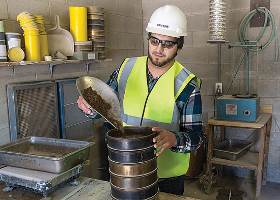 PHOTO PROVIDED Pennsylvania College of Technology student Nicholas E. Mills, of Tyrone, mixes concrete. He is enrolled in building construction technology: masonry emphasis. Penn College will offer a new associate degree in concrete science technology in the fall of 2018.