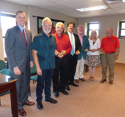 PHOTO PROVIDED Shown from left, are Frank Hendircks, Mansfield University president, with Brian Barden, Mark Eby, Al Quimby, Dave Cummings, Deb Bastian and Chuck Colby.