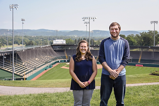 PHOTO PROVIDED Penn College students Olivia J. Hawbecker, of Chambersburg, and Austin L. Fulton, of Montoursville, are serving internships at Little League International Headquarters, working behind the scenes on a variety of tasks related to the upcoming Little League World Series, which begins Thursday.