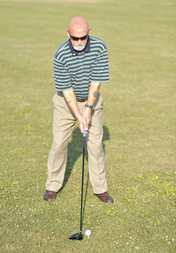 SUBMITTED PHOTO Duplicate your practice swing when hitting the ball.