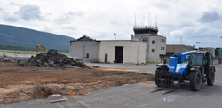 IOANNIS PASHAKIS/ Sun-Gazette The first of two buildings has been demolished at the Williamsport Regional Airport to make way for a new terminal planned to be built by next August.