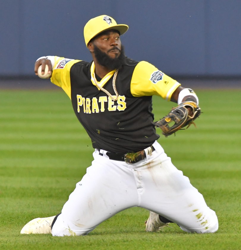 Pittsburgh Pirates second baseman Josh Harrison throws to first base for an out against the St.Louis Cardinals on Sunday at BowmanField during the 2017 MLBLittle League Classic. (MARK NANCE/Sun-Gazette)