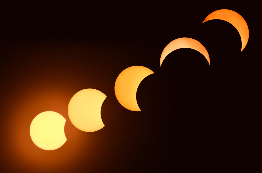 MARK NANCE/Sun-Gazette A sequence of the solar eclipse from around 1:15 until clouds rolled in around 3:00.