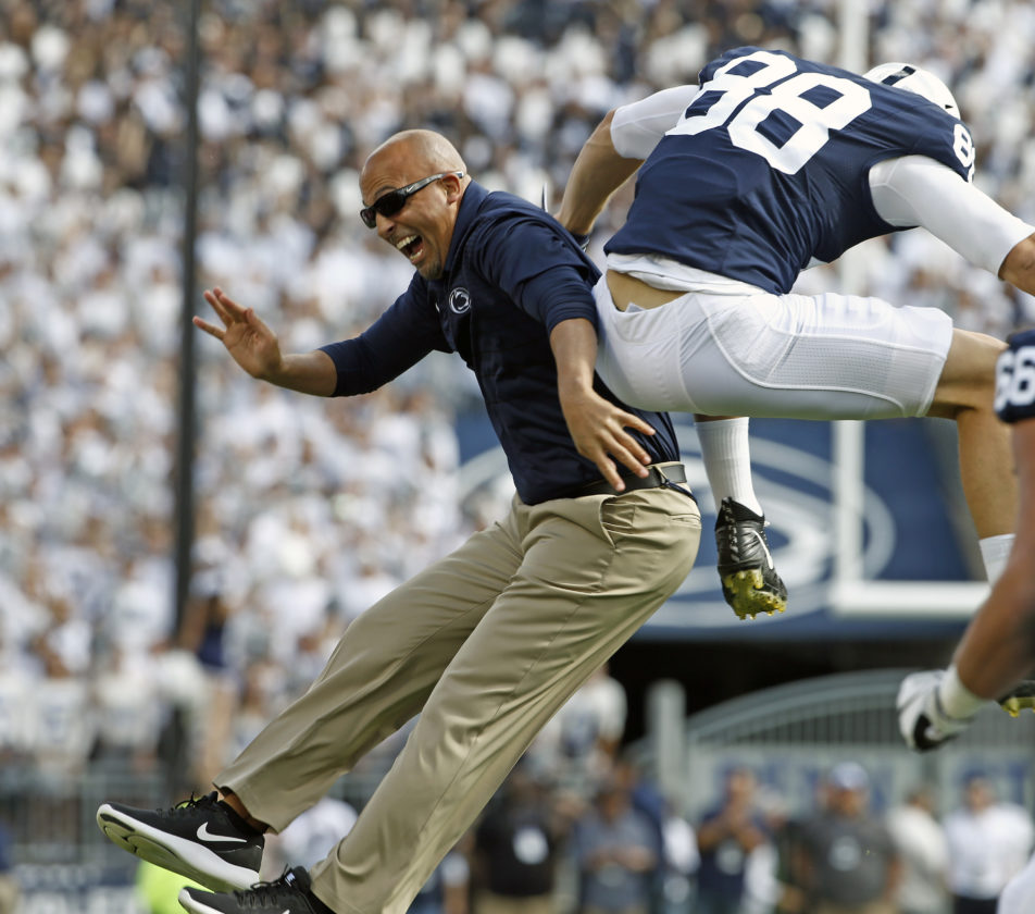 ASSOCIATED PRESS James Franklin celebrates with tight end Mike Gesicki during Saturday's Penn State win over Pitt.