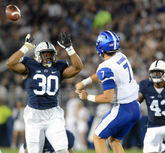 PATRICK WAKSMUNSKI/For The Sun-Gazette Kevin Givens, left, and Penn State's defense recorded its second shutout of the season Saturday vs. Georgia State.