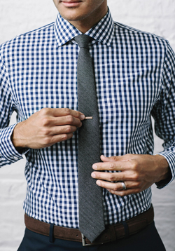 PHOTOPROVIDED Shown in this photo provided by The Tie Bar is a gingham shirt, paired with a complimentary tie. Gingham is a very popular print this fall.