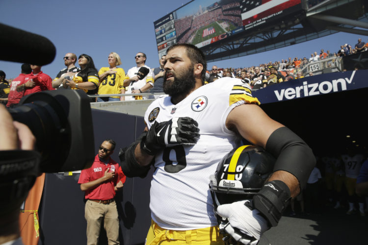 ASSOCIATED PRESS Alejandro Villanueva stands for the national anthem Sunday, something he said was actually a communication error for which he took responsibility.