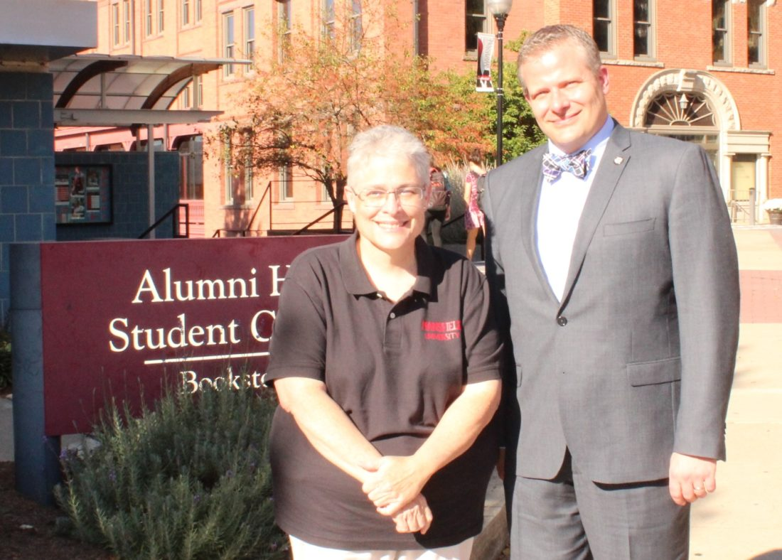 CARA MORNINGSTAR/Sun-Gazette Dr. Karen M. Whitney, interim chancellor of the Pennsylvania State System of Higher Education, left, and Scott W. H. Barton, Mansfield University interim president, stand outside North Hall on Mansfield University Campus during Whitney's visit to Mansfield University on Tuesday.