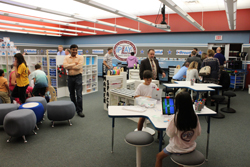 CARA MORNINGSTAR/Sun-Gazette Guests explore the new iPlay lab at Donald E. Schick Elementary in Loyalsock Township during an open house at the school board meeting in September.