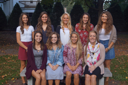 PHOTO PROVIDED Shown is this year's Montoursville Area High School homecoming court. Front row, from left, are Madelyn McDonald, Alexandra Bafile, Olivia Conklin and Danae Roles. Back row, from left, are Kathryn Plankenhorn, Lillian Stutzman, Olivia Evans, Rebecca Reeder and Shelby Kurtz.