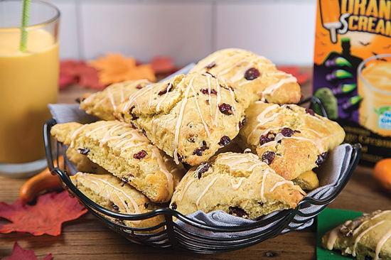 PHOTO PROVIDED Shown in this photo provided by Family Features are orange-cranberry scones.