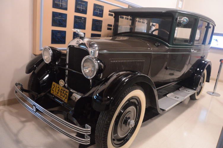 """KATELYN HIBBARD/Sun-Gazette This 1926 Studebaker, donated by James and Patricia Messner, of Williamsport, is now on display at the Peter Herdic Transportation Museum. The automobile was bought and restored by James Messner and his late father, Fred """"Studebaker Fred"""" Messner."""